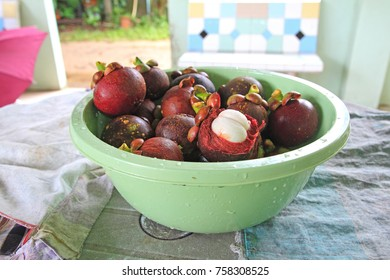 Mangosteen, tropical fruit is placed on the table
