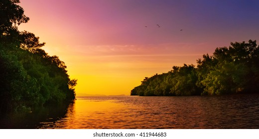 Mangrove blue river leading to the open sea Trinidad and Tobago colourful sunset
