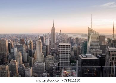 Manhattam NY / USA December 02 2017: New York City Manhattan aerial view during sunset