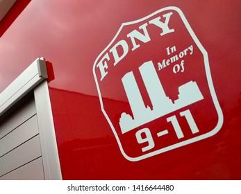 MANHATTAN BEACH, CA - JUNE 1, 2019: In memory of 9/11 attack badge on fire truck.
