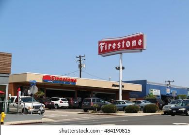 Manhattan Beach, California, USA - June 16, 2016: Firestone Complete Auto Care provides car maintenance, repairs and tire services.