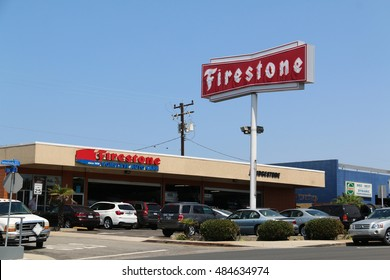 Manhattan Beach, California, USA - June 16, 2016: Firestone Complete Auto Care provides car maintenance, repairs and tire services.