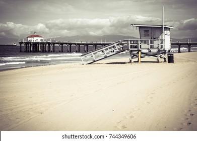 Manhattan Beach Pier California Retro Vintage