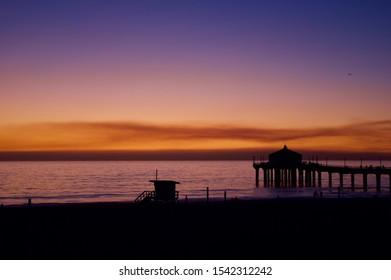 Manhattan beach pier, Califronia. Sunset time (2019)