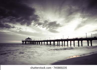 Manhattan Beach Pier Grungy Vintage Black and White