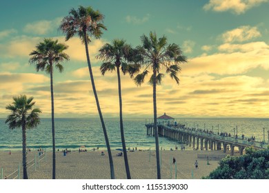 Manhattan Beach at sunset in California, Los Angeles, USA. Vintage processed.