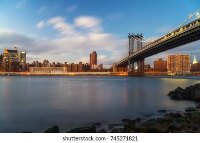 Manhattan bridge and Manhattan after sunset, New York City