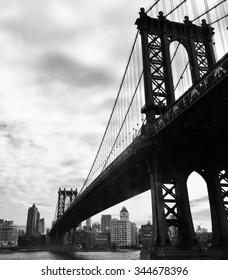 Manhattan bridge in black and white picture style