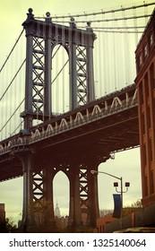 Manhattan Bridge in Brooklyn with warm filter, New York