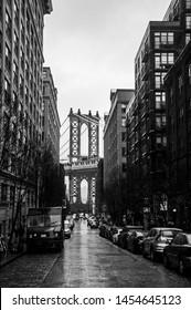 Manhattan Bridge and buildings in Dumbo, Brooklyn, New York city, December 10 2018