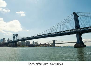 Manhattan Bridge and the City view from Manhattan side.