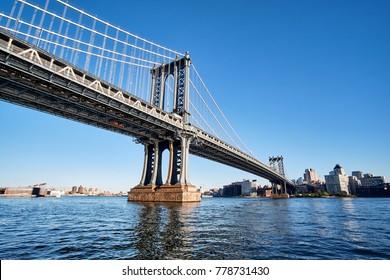 Manhattan Bridge crossing East River to Brooklyn in New York City