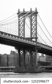 The Manhattan Bridge and East River, seen from DUMBO, in Brooklyn, New York City