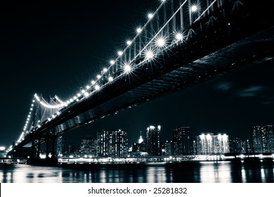 Manhattan Bridge and the East river seen from Brooklyn, New York.