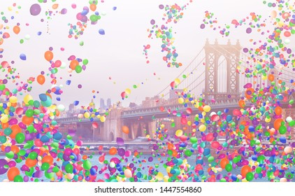 Manhattan Bridge and many colorful balloons fly