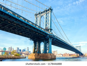 The Manhattan Bridge, New York City, United States. In the background  Manhattan and  Brooklyn Bridge.