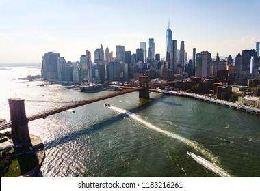 Manhattan bridge New York city downtown aerial view