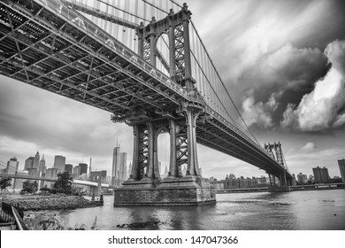 The Manhattan Bridge, New York City. Awesome wideangle upward view.