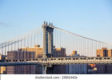 Manhattan Bridge with New York City Skyline