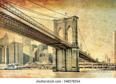 Manhattan Bridge in New York City United States America Famous suspension bridge in NYC USA, it connects Manhattan and Brooklyn by spanning the East River for travel. Image with vintage filter effect