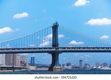 Manhattan Bridge at New York City with blue sky beautiful clounds