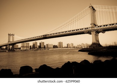 Manhattan Bridge in New York CIty, sepia