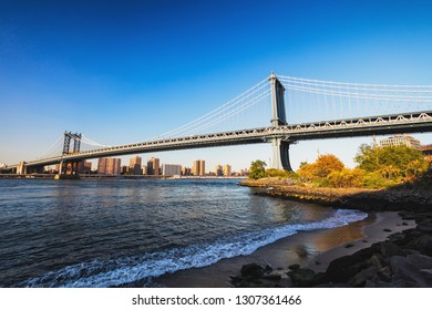 Manhattan Bridge in New York with Downtown
