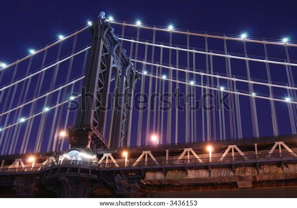 Manhattan Bridge At Night Lights, NYC