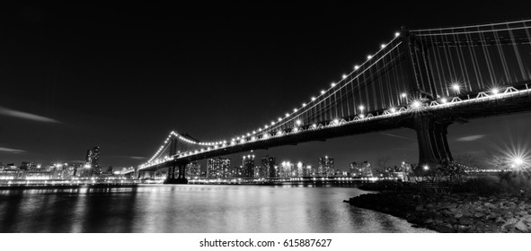 Manhattan Bridge at night - New York City, United States