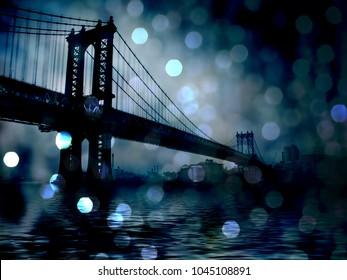 Manhattan Bridge Night Scene. Bokeh. 3D rendering