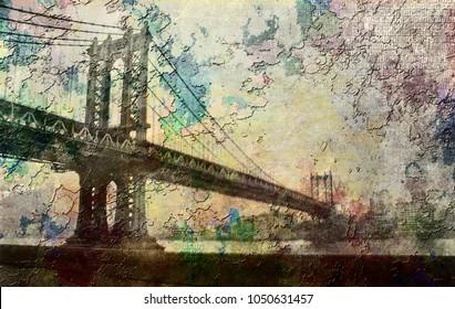 Manhattan Bridge Painterly Landscape. 3D rendering