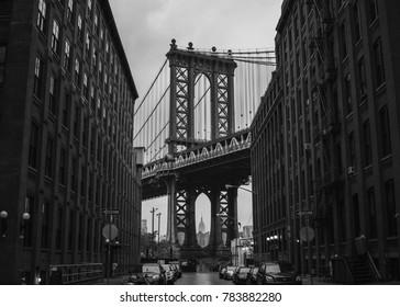 Manhattan bridge as seen from Brooklyn (New York City).