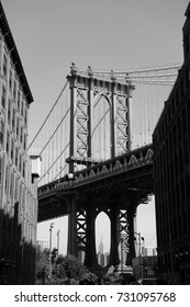 The Manhattan Bridge is seen from the Dumbo section of Brooklyn.
