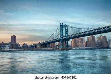 Manhattan Bridge skyline. Sunset at Manhattan Bridge.