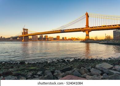 Manhattan Bridge with sunset, New York City
