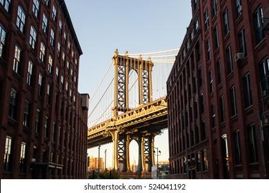 Manhattan Bridge at Sunset, New York City