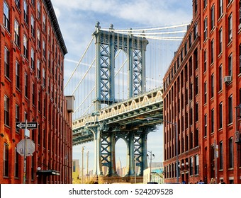 Manhattan Bridge at Sunset, New York, USA