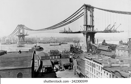 Manhattan Bridge under construction in 1909. The bridge spanned the east River from Manhattan's Canal Street to Flatbush Avenue in Brooklyn.