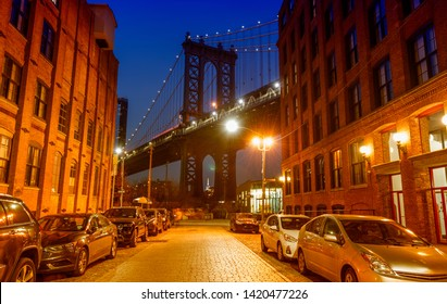 Manhattan Bridge. View from Washington Street in Dumbo.