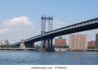 Manhattan Bridge Viewed from Empire Fulton Ferry State Park in Brooklyn
