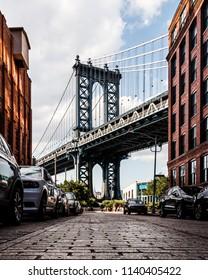 Manhattan Bridge from Washington Street in Dumbo, Brooklyn