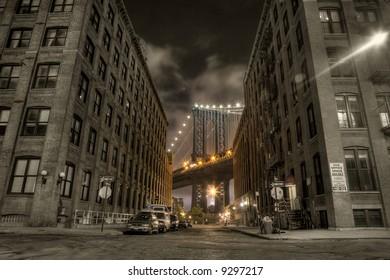 Manhattan bridge,view from Washington street , New york,United states of America