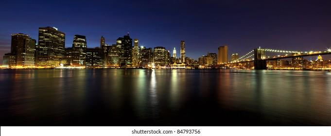 Manhattan and Brooklyn Bridge at dusk, New York