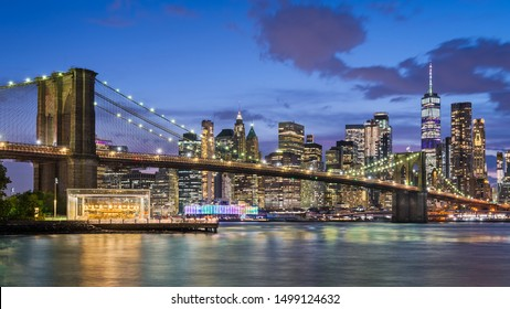 Manhattan and Brooklyn Bridge at night, New York City