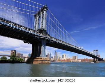 Manhattan and Brooklyn Bridges with New York City skyline on the background, USA