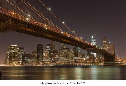 Manhattan cityscape at night. View on Manhattan skyline from Manhattan bridge.