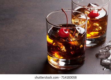 Manhattan cocktail with whiskey. With copy space