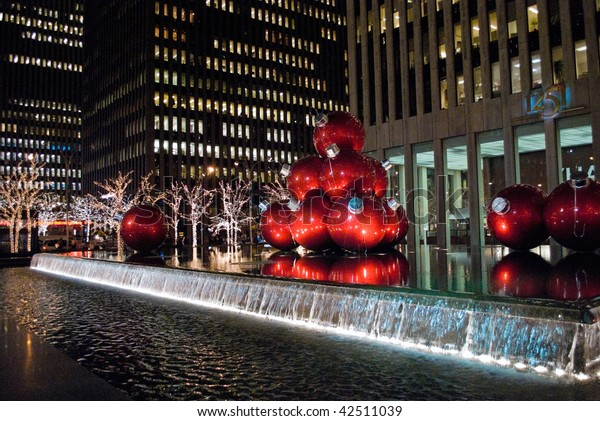 MANHATTAN - DECEMBER 7: Bright holiday lights are a big tourist attraction around Rockefeller Center on December 7, 2009 in New York City.