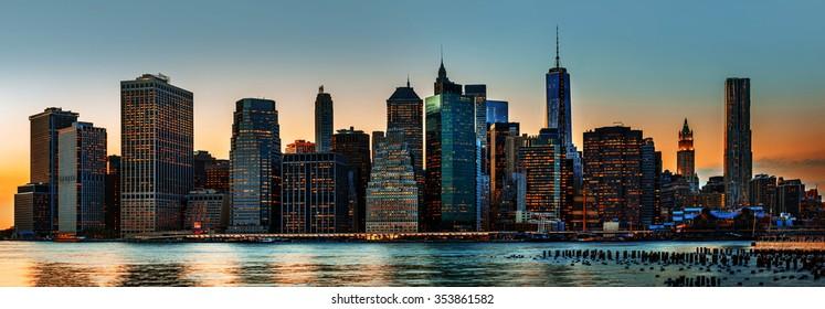 Manhattan. Evening New York City skyline panorama