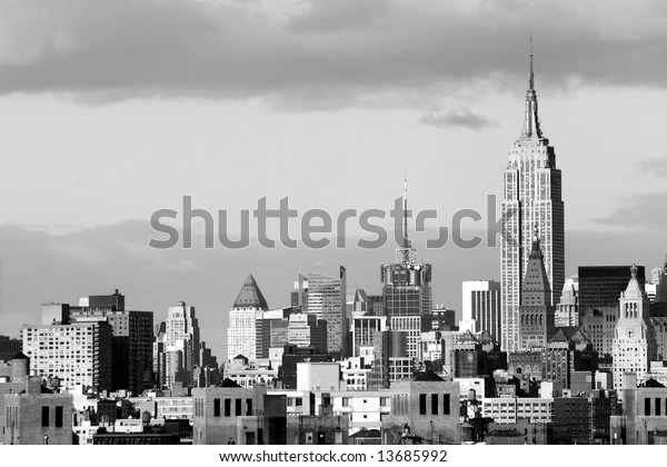 Manhattan Financial District skyline with Empire State building, New York City, USA